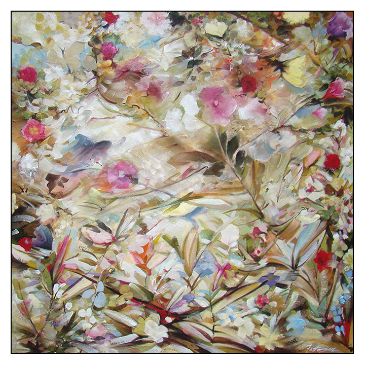 """Rosetta 36"""" x 36"""" Mixed Media on Canvas by David Patterson"""