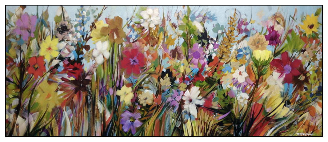 Community Fair - 18x42 Oil-mixed media on canvas by David Patterson