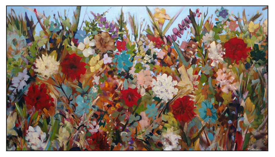 Friends 24x42 Oil-mixed media on canvas by David Patterson