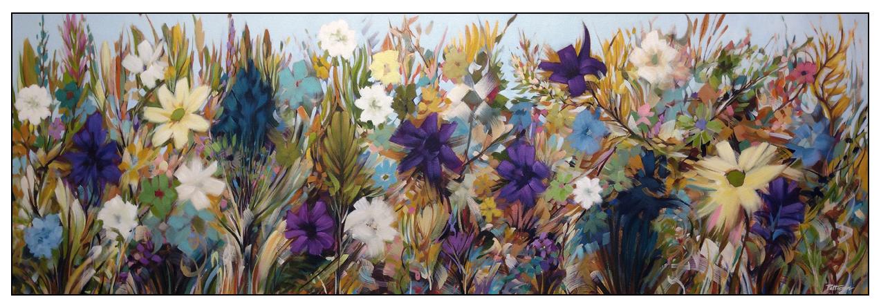 Garden Joy- 20x60 Oil-mixed media on canvas by David Patterson